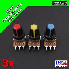3x 100k Ohm Linear Taper Rotary Potentiometers B100k Pot With Black Knobs 3pcs U19