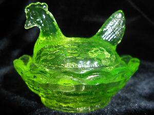 Green-Vaseline-glass-salt-celt-hen-chicken-on-nest-basket-dish-rooster-uranium