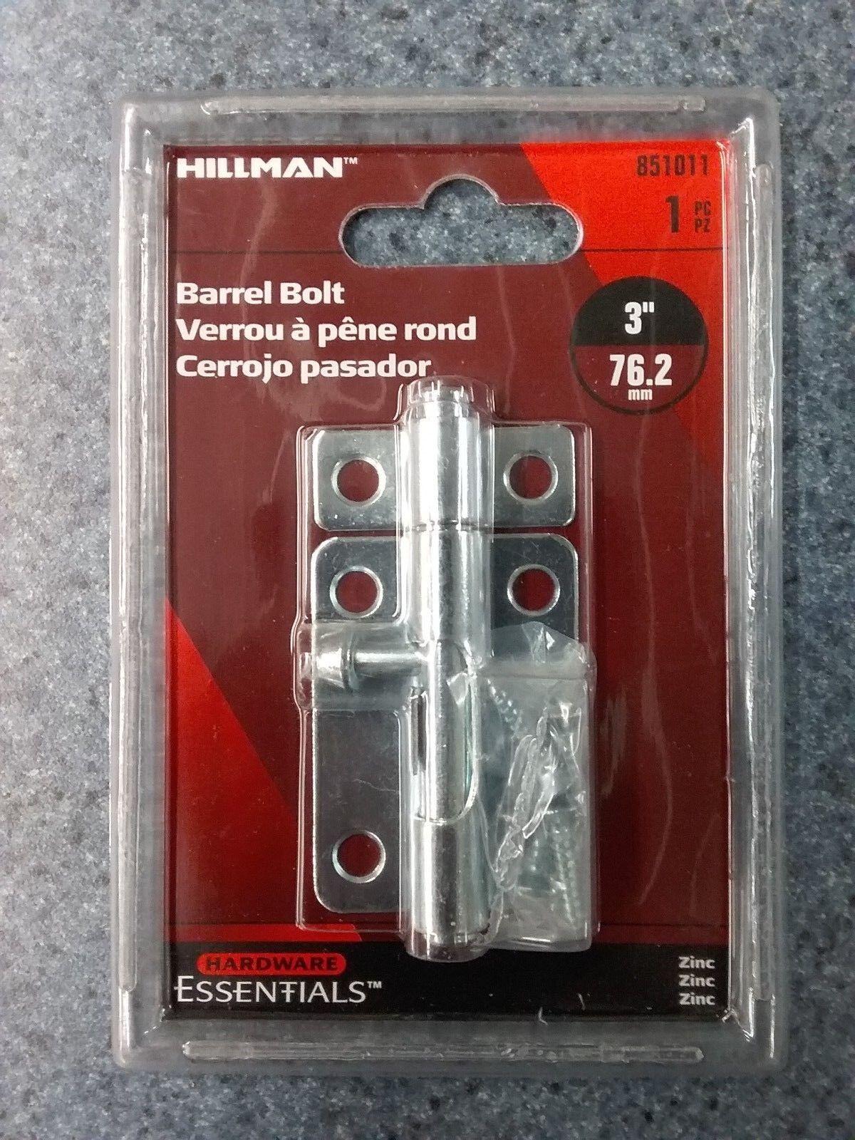 Hillman Hardware Essentials 851011 Barrel Bolt Zinc-plated 3
