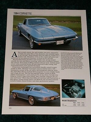 Vette GM Xlnt 64 1964 Chevy Corvette Sting Ray Dealer Brochure