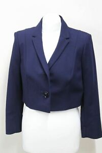 HOBBS-Polly-Ladies-Short-Cropped-Jacket-Rose-Button-Navy-Blue-Blazer-UK10-NEW