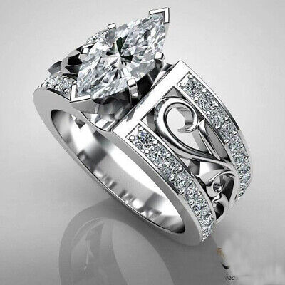Elegant Craved 925 Silver Wedding Rings for Women Party Ring Size 6-10