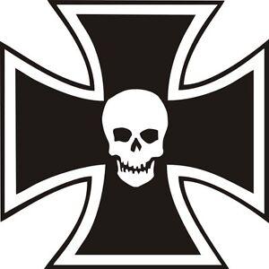 Emblem Kleber Metall Chrom Kreuz von Malta Skull