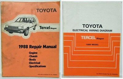 1993 Toyota Tercel Service Shop Repair Workshop Manual Set W Wiring Diagram Oem