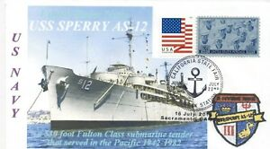 Uss-Sperry-AS-12-USN-Submarino-Tender-San-Diego-Color-Foto-Cachet-Pictorico-Pm