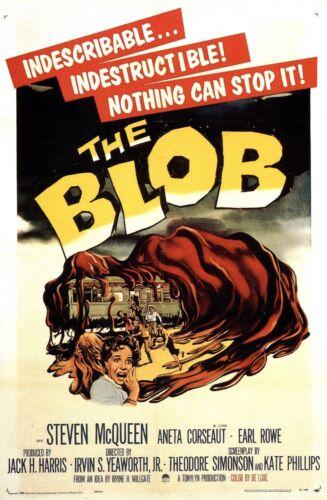 Replica Print Horror Cinema Film Art The Blob 1958 Framed Retro Movie Poster