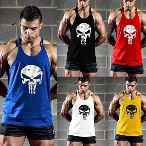 Herren-Punisher-Skull-Totenkopf-Muskelshirt-Tanktop-T-Shirt-Achselshirt-Hemd-Gym