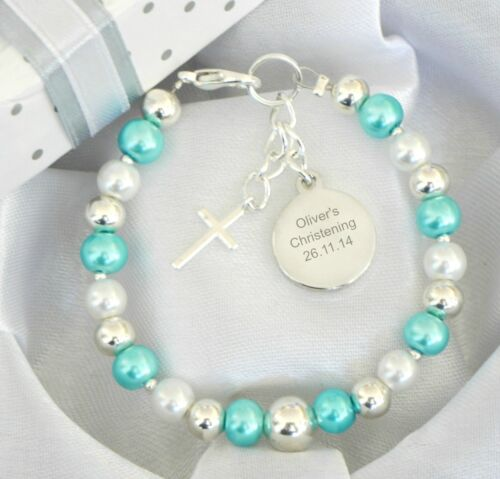 Baby Jungen Mädchen Personalisiert /& Gravierte Armband Taufe Tag Geschenk