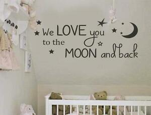 we love you to the moon and back wall art vinyl decal ebay