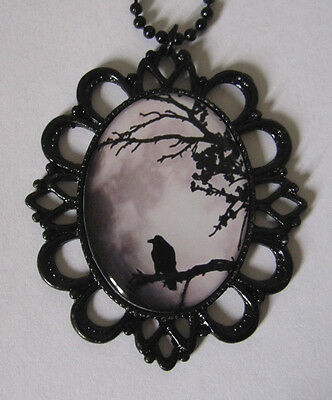 GOTH Steampunk RAVEN Crow VICTORIAN Black Framed CAMEO necklace/PENDANT Medieval