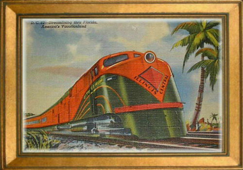 MAGNET TRAIN Post Card Fridge Photo Magnet Illinois Central City Miami