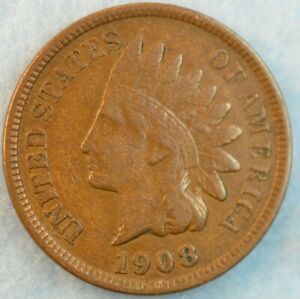 1908-Indian-Head-Cent-Penny-Very-Nice-Old-Coin-Fast-S-amp-H-432