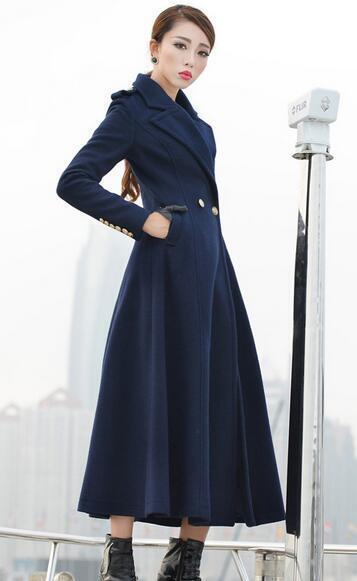 Womens Wool Wool Wool Blend Double Breasted Lapel Full Length Trench Outwear Slim Coat F89 660111