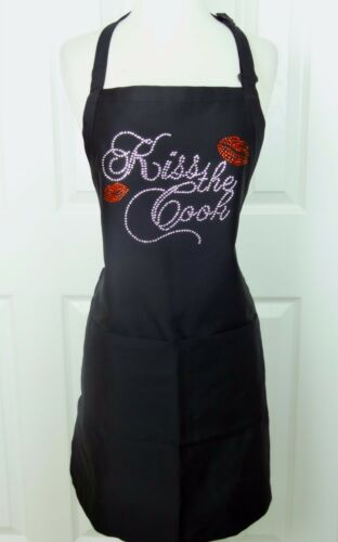 """Apron Black One Size Hand Embellished Rhinestone /""""KISS THE COOK/"""" With Red Lips"""