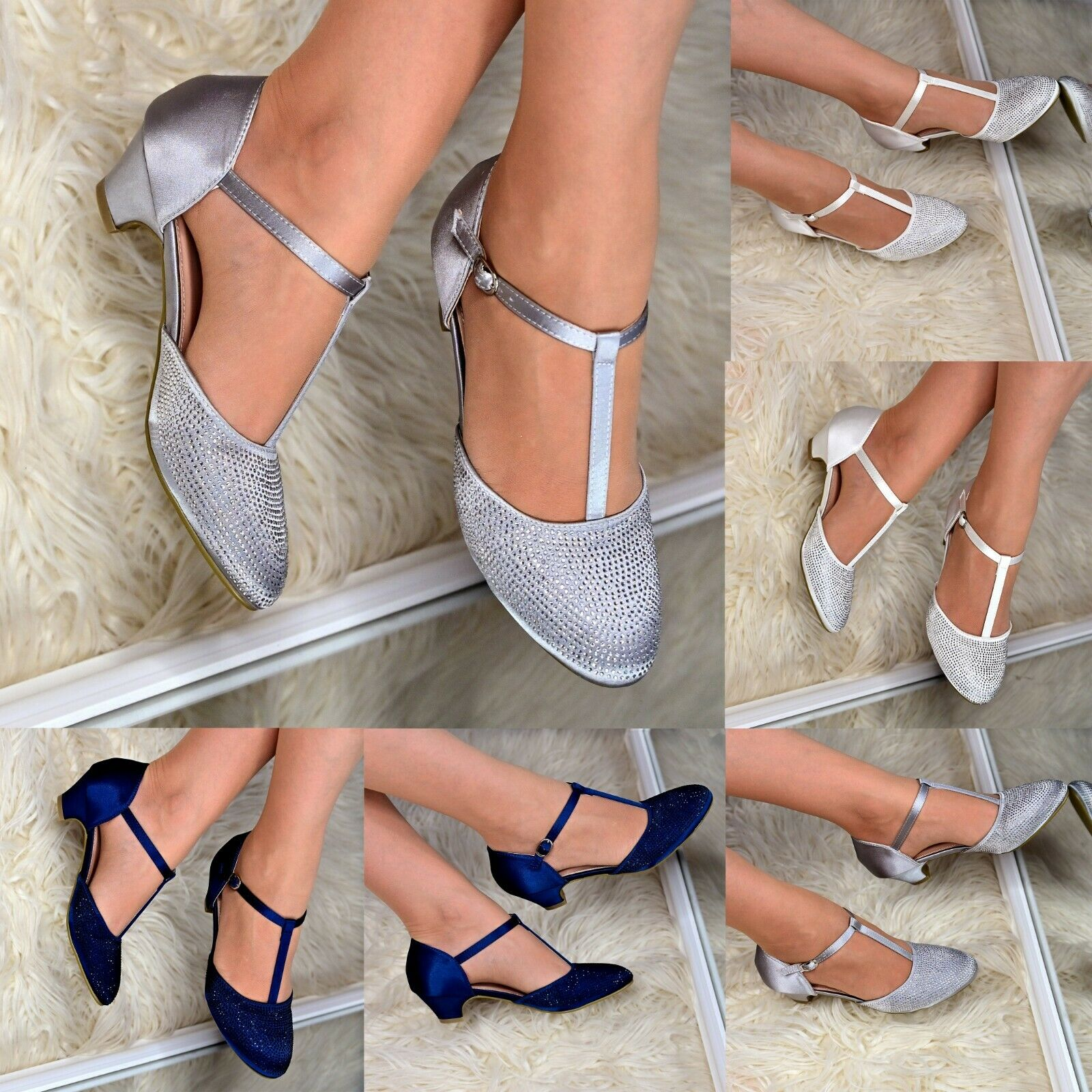 Womens Satin Low Heel Dress Shoes Rhinestone T-strap Pumps Occasion Sandals Size