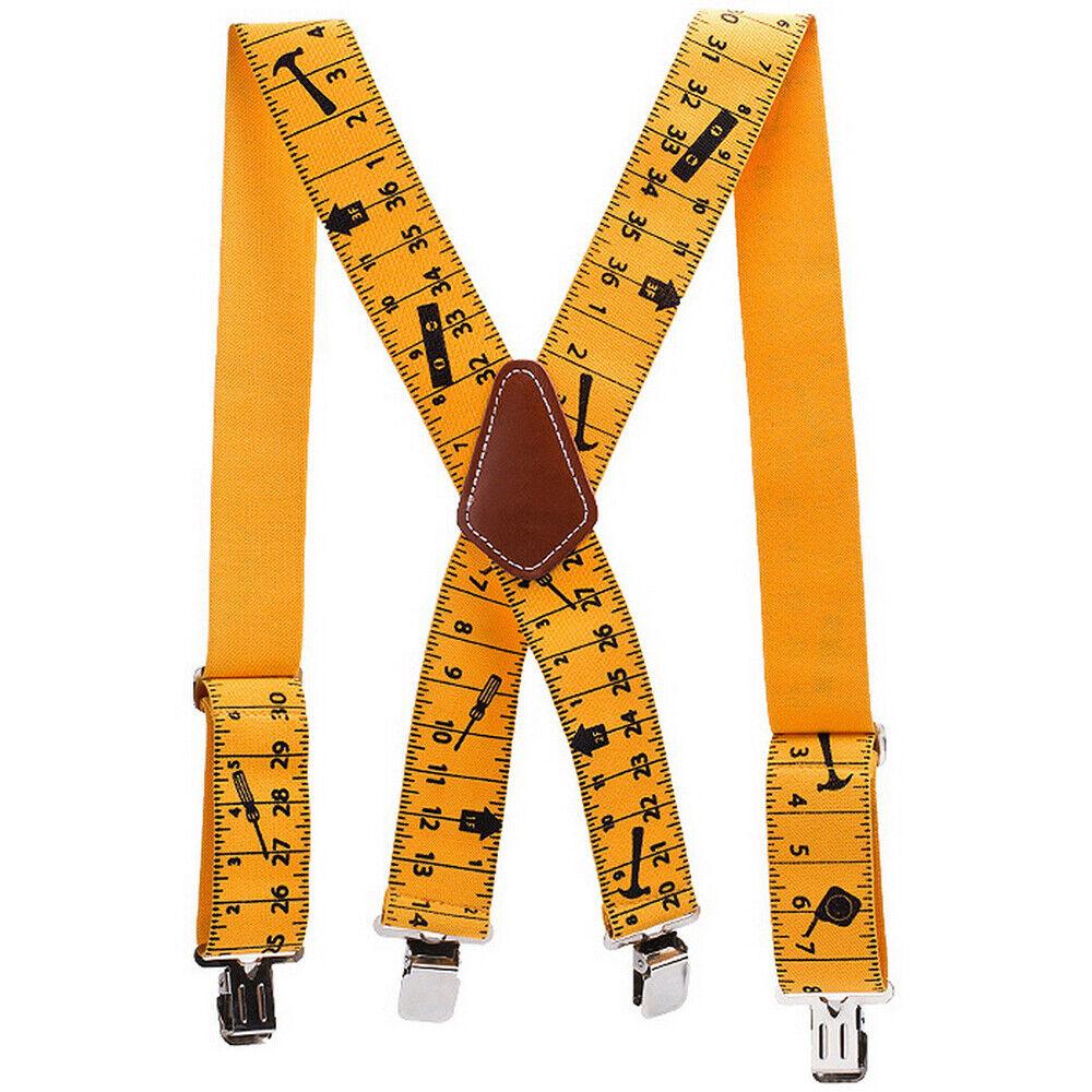 Men Trousers Pant Brace Heavy Duty 2inch 50mm Wide Yellow Tape Measurement #D03