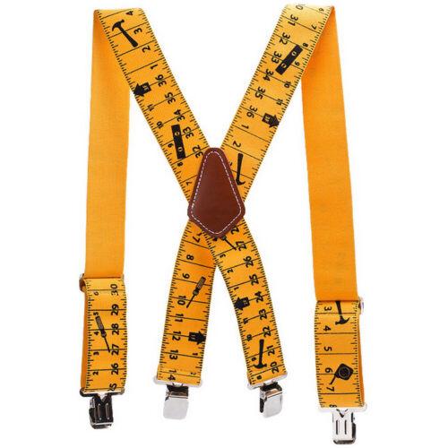 Men Trousers Pants Braces Heavy Duty 2inch 50mm Wide Yellow Tape Measurement W5H