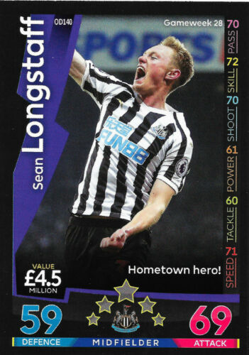 Sean Longstaff Newcastle United OD140 Match Attax sur demande carte 2018//19