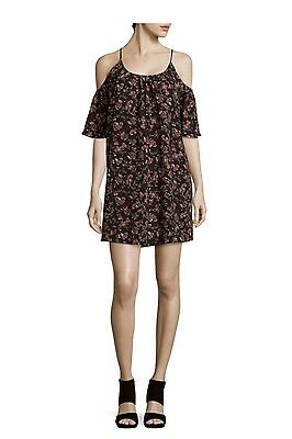 French Connection Womens Black Floral Print Babydoll Dress S Cold Shoulder New