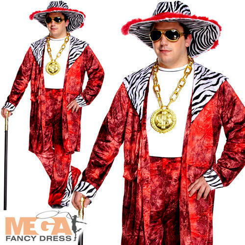 Big Daddy Red Mens Fancy Dress 1970s 80s Pimp Gangster Rapper Adults Costume New