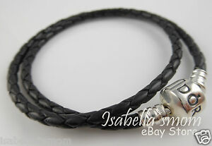 73c44faa1 Image is loading BLACK-LEATHER-DOUBLE-Genuine-PANDORA-Bracelet-with-SILVER-