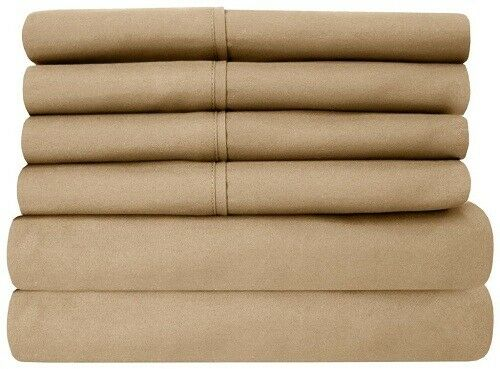 Branded 1 Flat Sheet & 2 Pillowcase Taupe Solid 1000 Thread Count 100% Cotton