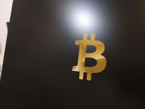 "Bitcoin Logo Vinyl Decal Sticker Gloss White 2/"" x 2/"" 1//2 4 pack"