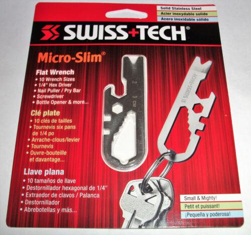 SWISS TECH MICRO-SLIM FLAT WRENCH SCREWDRIVER NAIL PULLER BOTTLE OPENER PRY BAR