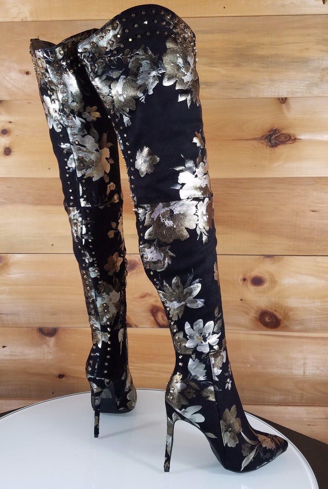 Lexi Floral Floral Floral Negro Tachonado alto del muslo botas Taco Alto Puntera Puntiaguda 7-11  tienda en linea