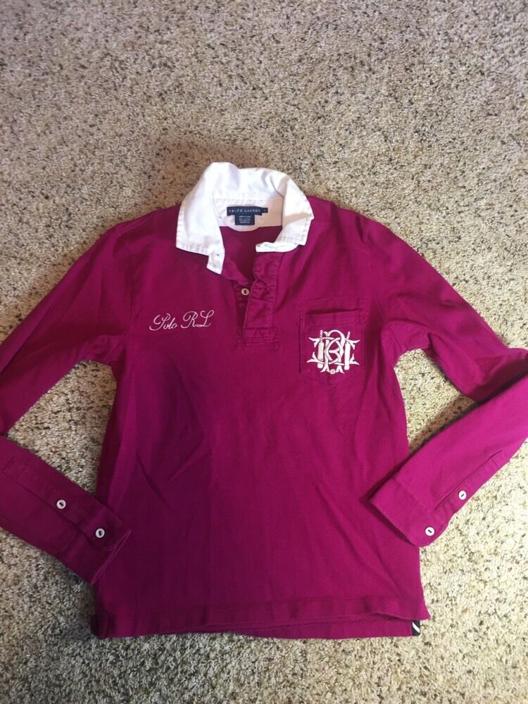 Ralph Lauren Classic Solid Stitched Logos L S Rugby Polo Shirt Woherren Large Kd1