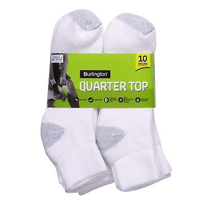 Short No Show White BURLINGTON Comfort Men Athletic Socks 10-pk Thick 70/% Cotton