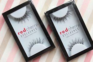 2x-Red-Cherry-DEMI-WISPY-DW-wispies-schwarz-EchthaarWimpern-Wimpernverlaengerung