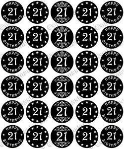 30 X Happy 21st Birthday Edible Wafer Paper Cupcake Toppers Black