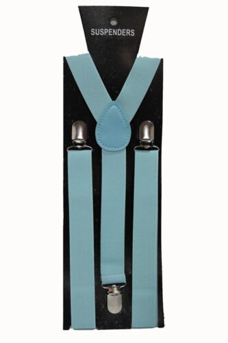 Baby Blue Adjustable Braces Suspenders Mens Women Fancy Dress Clip On Slim 2.5