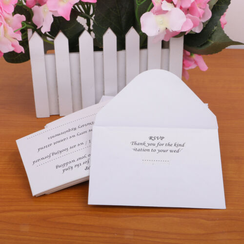 50pcs//Set Romantic Wedding RSVP Reply Cards and Envelopes Party Supplier