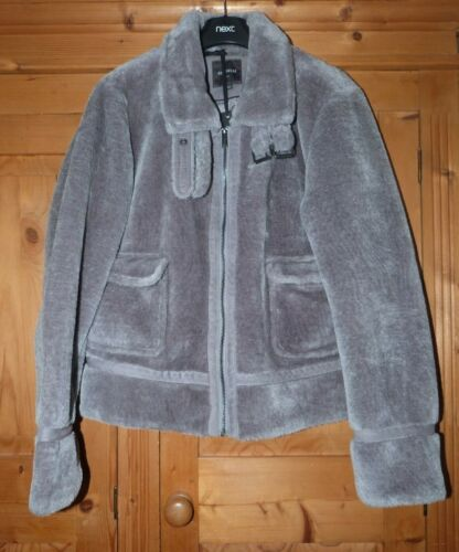 Ladies Slate Grey Faux Fur NEXT Bomber Jacket Size 14