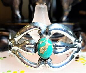 TAXCO-Mexico-Vintage-Retro-925-Silver-Natural-BlueTurquoise-Cuff-Bracelet-B196