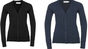 Details about Russell Knitted Womens V Neck Cardigan Ladies Lightweight Plain Sweater