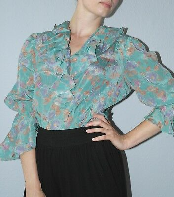 Analitico True Vintage Camicia Volant Vollants 60er Flower Blouse 60´s Top Shirt Ruffles-mostra Il Titolo Originale