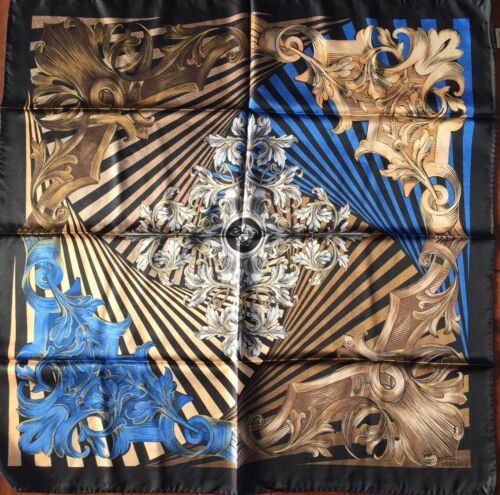 NWT VERSACE Large Square 100% Silk Scarf  Italy Gold Black Blue