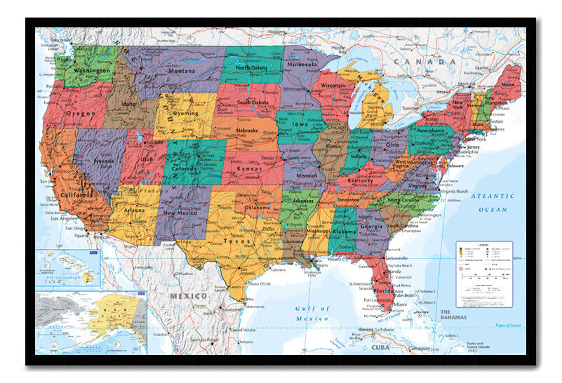 USA United States Map Wall Chart Framed Cork Pin Board Includes Pins