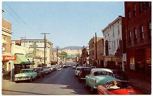 Waynesboro-Virgina-Business-Section-1950s-Cars-Coca-Cola-Sign-Vintage-PC