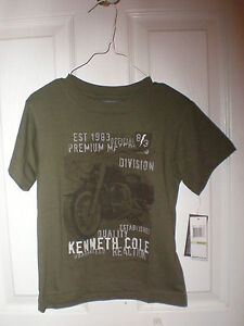 New-Boys-4T-Kenneth-Cole-Reaction-Tshirt-olive-green-w-motorcycle-short-sleeve
