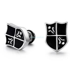 fashion stainless steel black shield cross boys mens