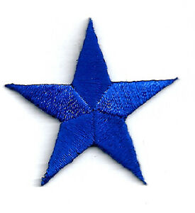 "1 5//8/"" WHITE EMBROIDERED STARS IRON ON PATCHES 4cm ONE DOZEN - 12"