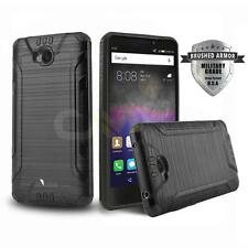 BLACK BRUSHED ARMOR SHOCKPROOF HYBRID HARD COVER PHONE CASE FOR HUAWEI ASCEND XT