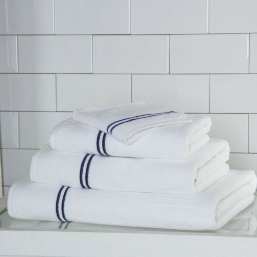 Set of 2 Frette Hotel Classic Bath Sheet White//Navy
