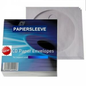 100 X Decorativas Papel Funda con Ventana + Solapa Sleeve Caja para CD DVD Blu