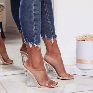 Details about Cape Robbin LEMONADE Transparent Clear Nude Foot Bed Lucite Wedge  Heel Mule