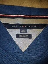 Tommy Hilfiger Men;s Logo V-Neck Pima Cotton Sweater, Blue, Size L